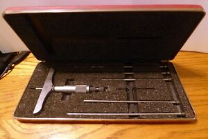 Vintage Starrett No 445 Depth Gage Micrometer 0 6 With Case Wrench Nice