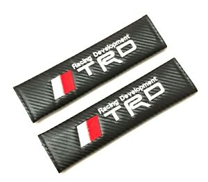 2pcs Carbon Look Embroidery Logo Seat Belt Cover Shoulder Pads For Trd Racing