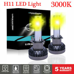 2pcs H11 H9 H8 Led Headlight Bulb Kit High Low Beam Fog Light 100w 3000k Yellow