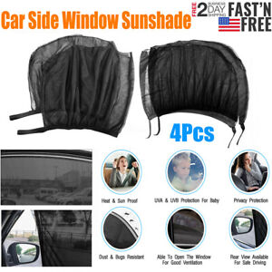 4x Car Side Window Shade Screen Cover Breathable Sunshade For Car Truck Black