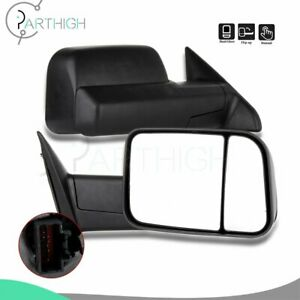 Black Manual Towing Left Right For 2009 2012 2014 2015 Dodge Ram 2500 Tow Mirror