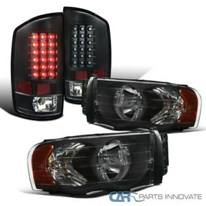 For 02 05 Dodge Ram 1500 2500 3500 Pickup Black Headlights Led Tail Brake Lamps