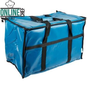 23 X 13 X 15 Insulated Food Pan Carrier Blue Vinyl Top Load Zipper Standard