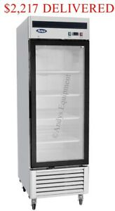 Atosa Single 1 One glass Door Commercial Restaurant Upright Freezer On Casters