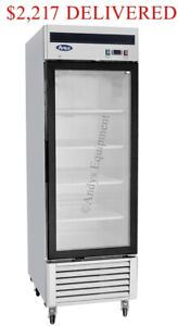 Single 1 One glass Door Commercial Merchandiser Upright Freezer On Casters Nsf