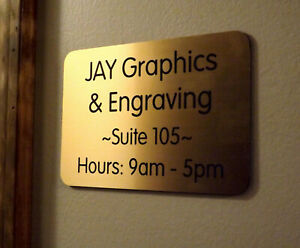 Custom Engraved Brushed Gold 4x6 Office Suite Sign Small Business Wall Plaque