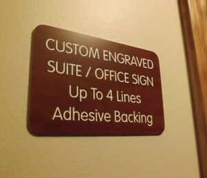 Custom Engraved Mahogany 4x6 Office Suite Sign Small Business Wall Door Plaque