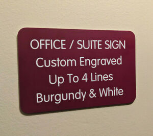 Custom Engraved 4x6 Office Suite Sign Burgundy Small Business Wall Door Plaque