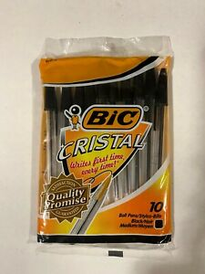 Bic Cristal Ball Pen Medium Point Black 10 Count In Retail Packaging