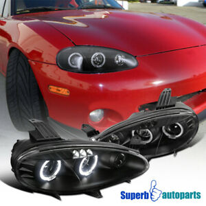 For 2001 2005 Mazda Miata Mx5 Led Dual Halo Projector Headlights Black
