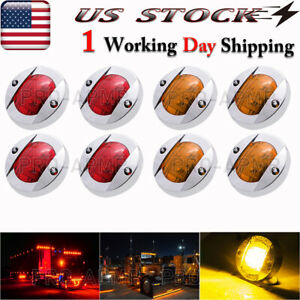 2x Round 3in Amber Red Led Side Marker Lights Truck Rv Trailer Clearance Light