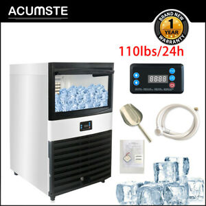 110lb 24h 45kg Commercial Ice Maker Stainless Clear Cube Machine Undercounter Us