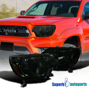 For 2012 2015 Toyota 12 15 Tacoma Pickup Factory Style Headlights Smoke Lamps