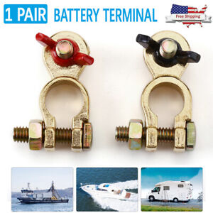 2x Brass Battery Terminal Positive Negative Connectors Clamp Marine Top Post