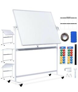 Usa Creative Space 48x36 Standing Magnetic Mobile Whiteboard On Wheels
