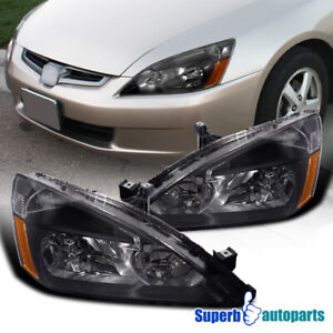 For 2003 2007 Honda Accord 2 4 Door Lx Ex Headlights Head Lamps Black