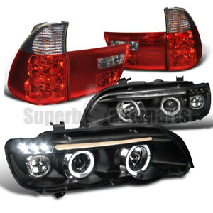 For 2001 2003 Bmw E53 X5 Led Halo Projector Headlights tail Lights Red Smoke