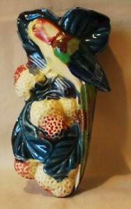 Made in Japan Wall Pocket Figural Bird Perched on Branch Surrounded by Fruit