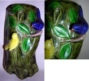 Made in Japan Wall Pocket 2 Figural Birds Perched on Tree Trunk Majolica Style