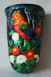 Japan Wall Pocket Very Colorful Bird Perched in Trees amp; Flowers Majolica Style