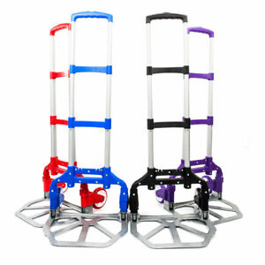 Portable Folding Cart Collapsible Aluminum Dolly Push Hand Truck Trolley Moving