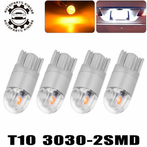 4x T10 3030 Led Amber Yellow Bulbs 168 192 194 Dome Map Instrument Panel Light