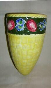 Made in Japan Wall Pocket Multi Colored Flowers amp; Fruit Majolica Style Majolica