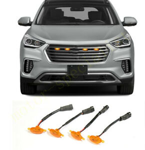 Front Grille Led Light Raptor Style Grill Cover For Hyundai Santa Fe 2013 2018