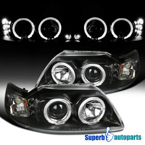 For 1999 2004 Ford Mustang Led Halo Projector Headlights Black Pair