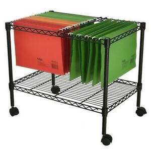 Single Tier Metal Rolling Mobile File Cart 23 6 X 12 6 X 18 Office Supplies