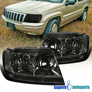 For 1999 2004 Jeep Grand Cherokee Smoked Tinted Headlights Replacement Head