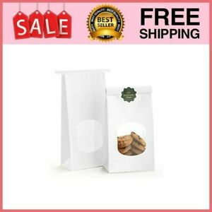 Bakery Bags With Window Kraft Paper 100pcs 4 5x2 36x9 6 Inches Tin Tie