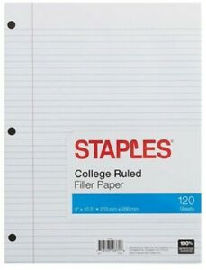 College Ruled Filler Paper 120 Sheets 8 x10 5