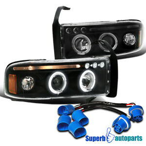For 1994 2001 Dodge Ram Sport Pack Led Halo Projector Headlights Black