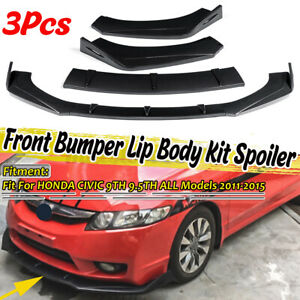 For Honda Civic 9th 9 5th Type R 2011 2015 Carbon Look Front Bumper Lip Splitter