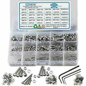 850pcs Stainless Steel Nuts And Bolts Assortment Metric Machine Screws Set