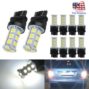 10pcs White 7443 7440 5050 18 Smd Led Tail Brake Backup Reverse Light Bulbs Usa