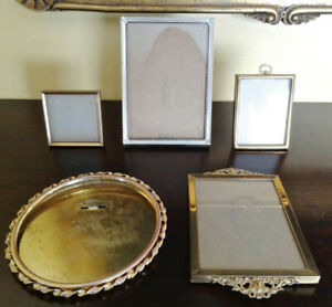 Antique Vintage Picture Photo Frames Lot Of 5 Brass Gold And Silver Plate