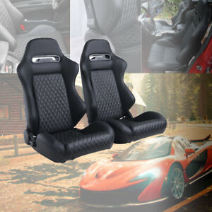 2x Universal Reclinable Car Auto Racing Seats 2sliders Leather Bucket Sport Seat