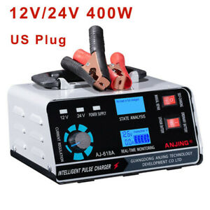 400w 40a 12v 24v Car Battery Charger Heavy Smart Automatic Pulse Repair Trickle