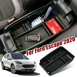 Car Center Console Armrest Organizer Storage Tray Box Black For Ford Escape 2020