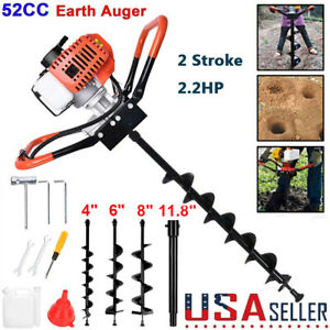 52cc Petrol Earth Auger Digger Fence Post Hole Borer Ground 3 Drills extension