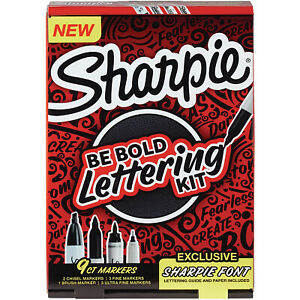 Sharpie Lettering Kit Be Bold Permanent Markers Assorted Sizes Black 9 pack