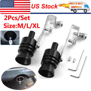 2x Car Turbo Sound Whistle Muffler Exhaust Pipe Blow Off Valve Simulator M L Xl