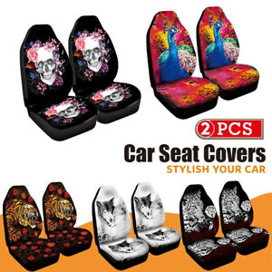 2pcs set Gm Car Seat Cover Front Cushion All inclusive Universal Skull Print New