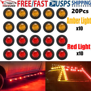 20x Red Smoked Round Side Marker Lights 3 4 led Bullet Light Truck Trailer Amber