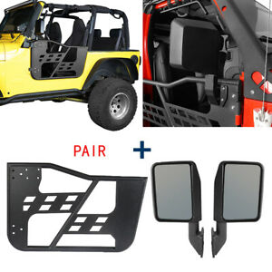 Pair Steel Black Tubular Door Guards Two Mirrors For 1997 2006 Jeep Wrangler Tj