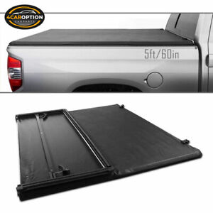 Fits 05 15 Toyota Tacoma 5ft Bed Black Vinyl Tri Fold Tonneau Cargo Cover