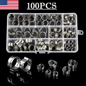 100pcs Hose Clamp Assorted Stainless Steel Ear Cinch Rings Crimp Pinch Set