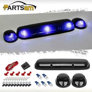 3pc Smoke Cab Roof Top Marker Lights T10 5730 Blue Led Bulbs For Chevy Gmc 02 07